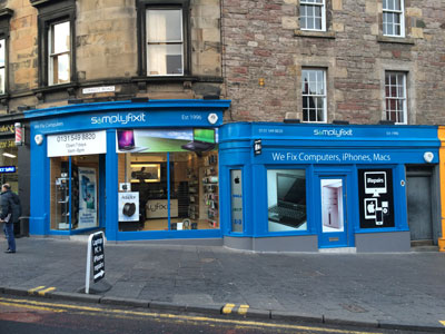 A picture of the outside of the SimplyFixIt store at Forrest Road, Edinburgh
