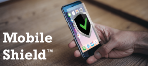 Mobile Shield logo showing a person holding an iPhone.
