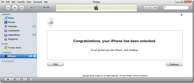 iTunes will finish off the unlocking process.