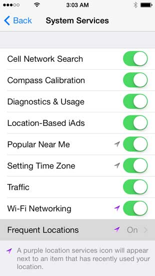 Choose Frequent Locations from the System Services Menu.
