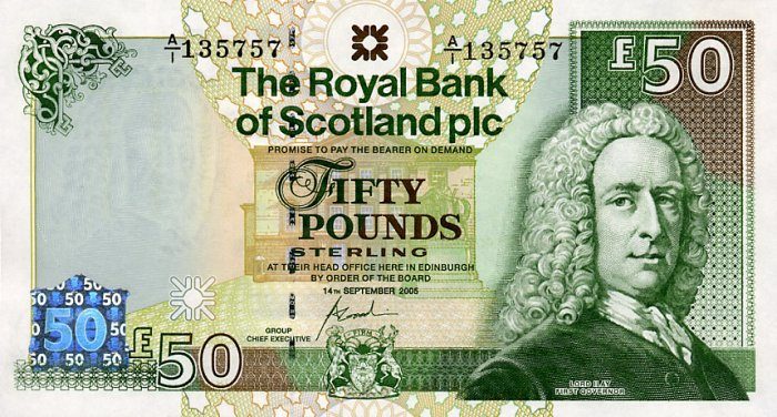 A crisp Scottish £50 note