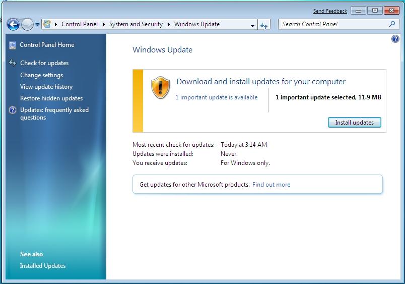 windows 7 patch  location