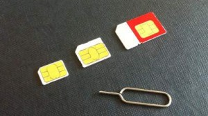 3 sizes of SIM card. Nano-sim, micro-sim and standard sim.