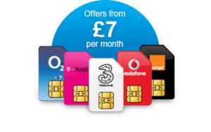 Several SIM cards which have the various phone networks on them. Available from £7 per month.