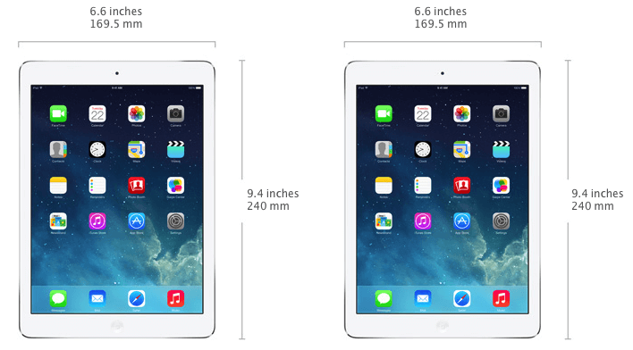 iPad Air size and width in mm - 169.5mm wide and 240mm high