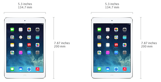 Size of iPad Mini 2 - 134.7mm wide and 200mm high