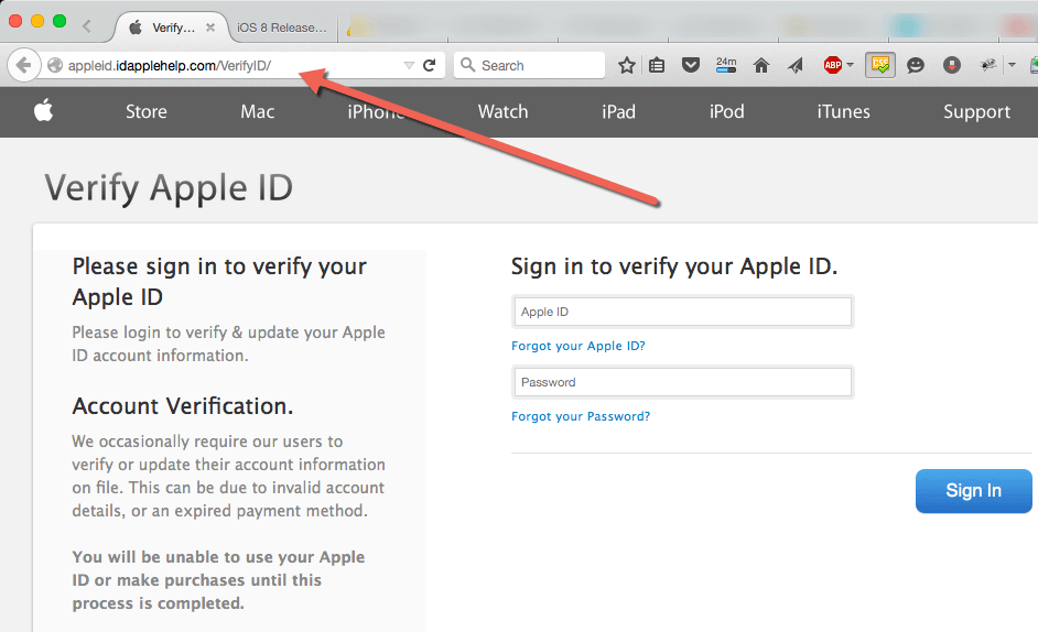 An example of a scam website, designed to look like an official Apple website.