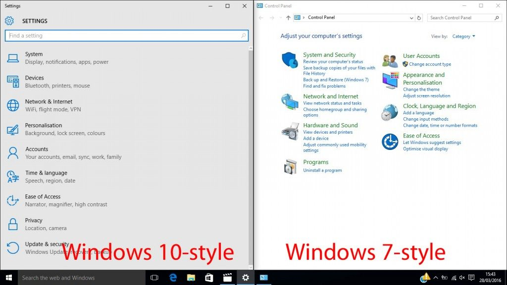 Comparing the standard Windows 10 control panel layout beside the classic, Windows 7, style control panel.