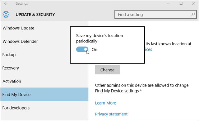 Screenshot of Windows Ten's Find My Device feature in settings