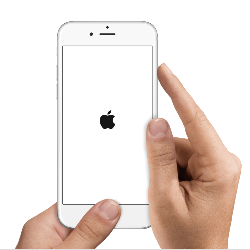 2 hands holding an iPhone 6. The left hand is pressing the home button while the right hand is pressing the power button.