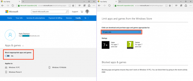 Windows 10 parental controls manage apps and games