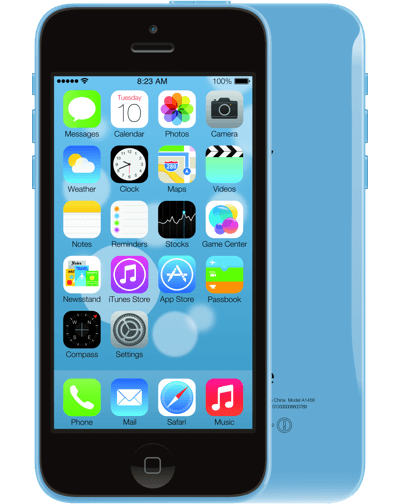 a blue iPhone 5c