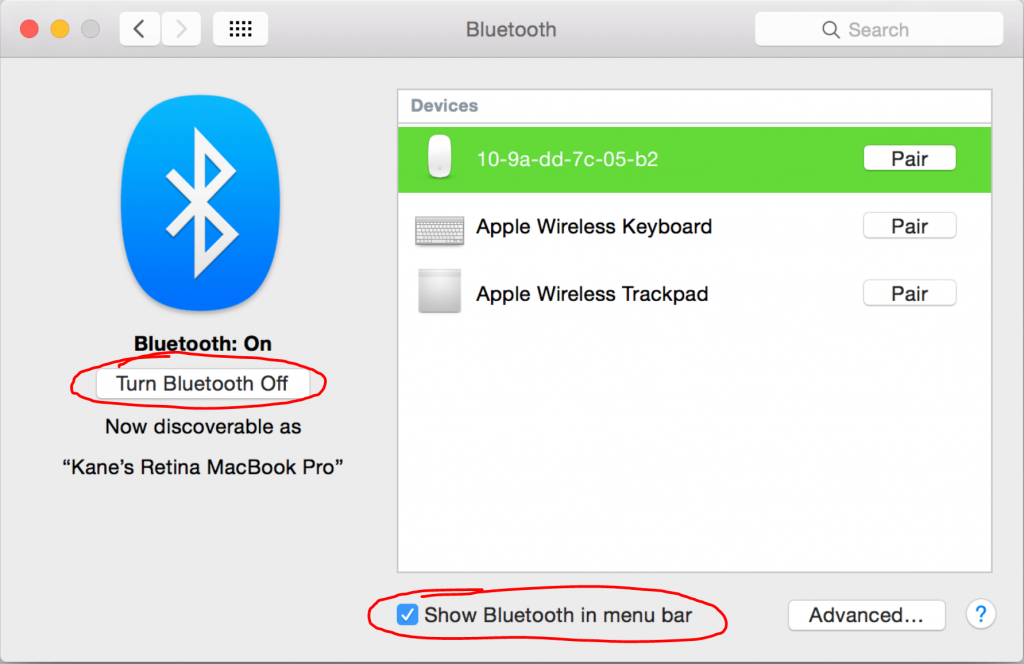 A picture showing the Bluetooth Options on macOS