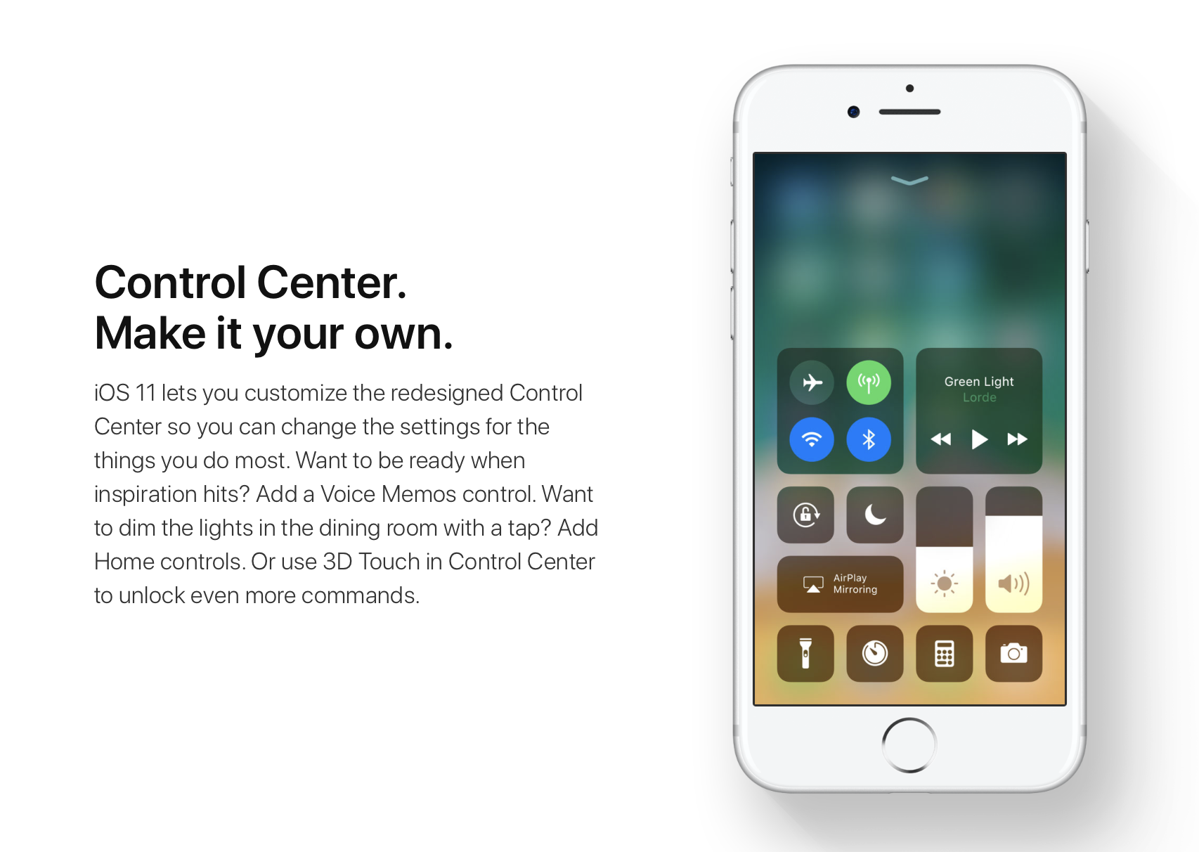 A picture of an iPhone showing the new iOS 11 Control Centre.