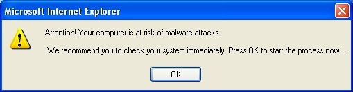 An example of a fake warning: A pop-up box alerting you that your computer may have a virus. But it's not from your Antivirus program.