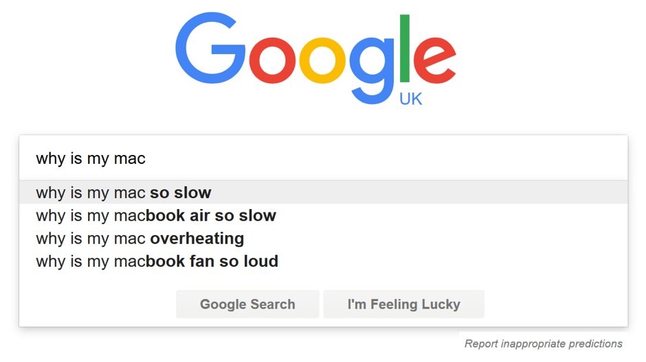A Google search for why is my mac do slow