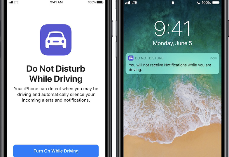 Two iPhones pictured side-by-side. The left shows you the Do Not Distrub feature, whereas the iPhone on the right shows you the notification that appears, automatically, when Siri automatically detects that you have started driving