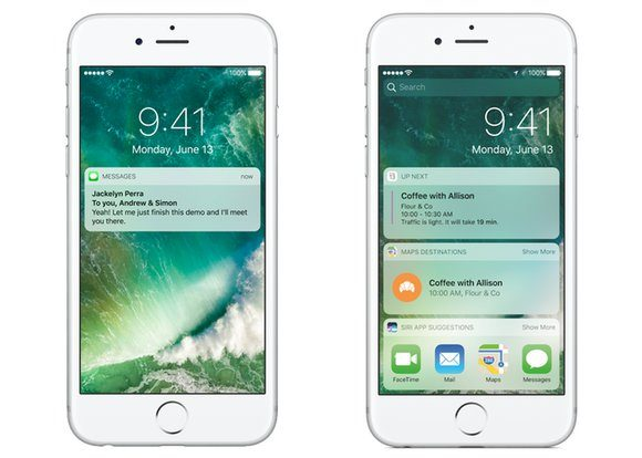 Two iPhones side by side. The left showing the old Lock screen, and the right showing the old Notifications screen, from iOS 10