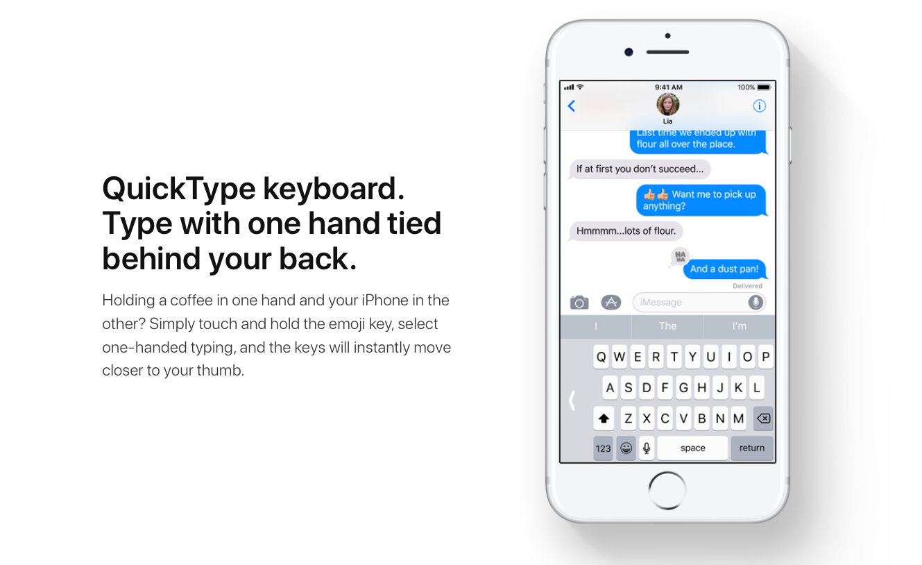 a iPhone showing the new Quick Type Keyboard enabled. The keys have moved to the right side of the iPhone so that they are easier to reach with your thumb