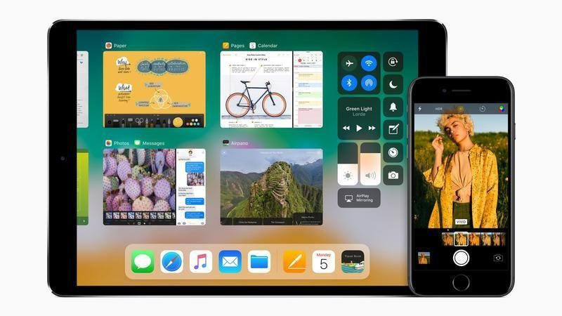A picture of an iPad and an iPhone displaying iOS 11