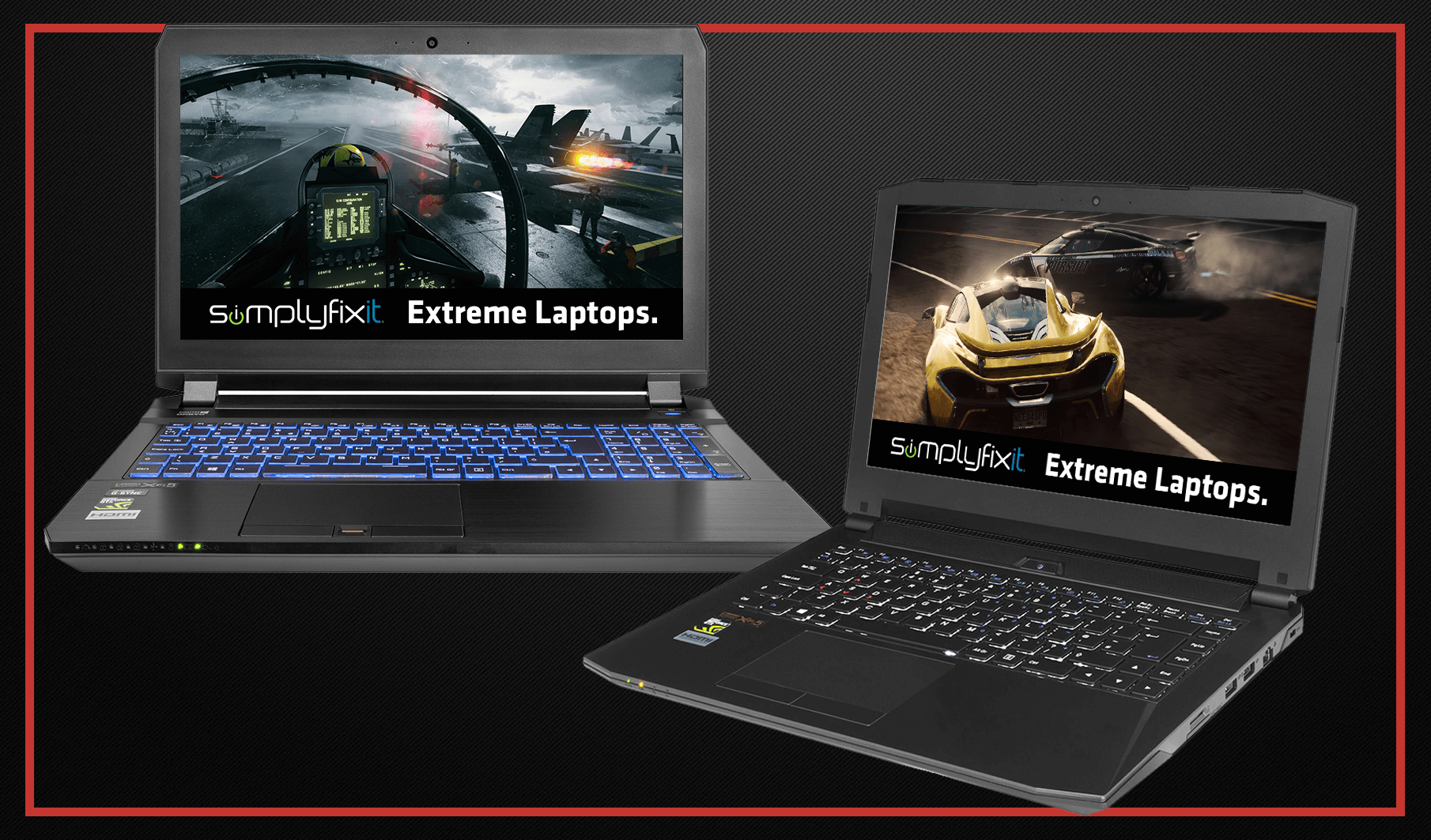 A picture showing two custom built gaming laptops, designed by SimplyFixIt