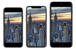 3 iPhones beside each other. From the left, the iPhone 8, then the iPhone Ten in the middle and the iPhone 8 Plus on the right.