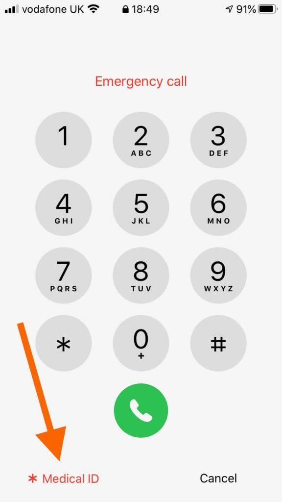 The screen on an iPhone where a user dials a phone number.