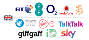 logos from various mobile networks. Including EE, O2, Tesco Mobile, Giffgaff and ID mobile.