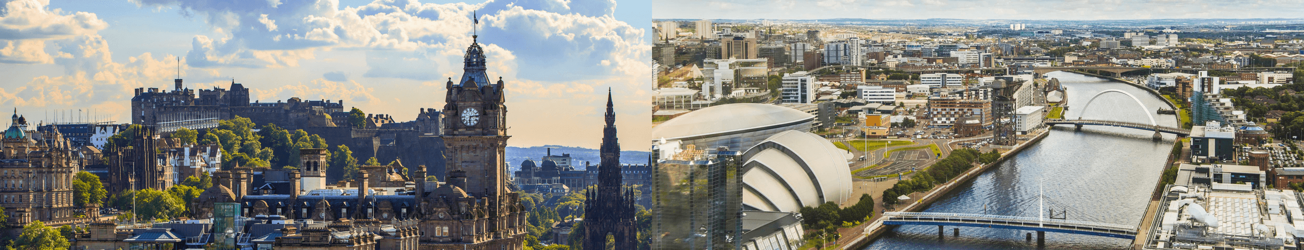 A wide image that is made up of a aerial view of Edinburgh on the left, and Glasgow on the right.